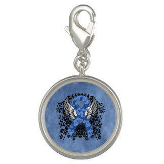 Blue Paisley Ribbon with Wings Photo Charms