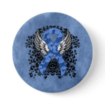 Blue Paisley Ribbon with Wings Pinback Button