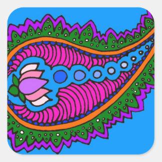Blue Paisley Square Sticker