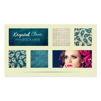 Blue Paisley Squares Business Card