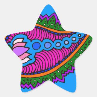 Blue Paisley Star Sticker