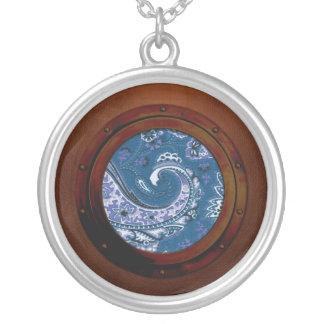 Blue Paisley Steampunk Porthole Round Pendant Necklace