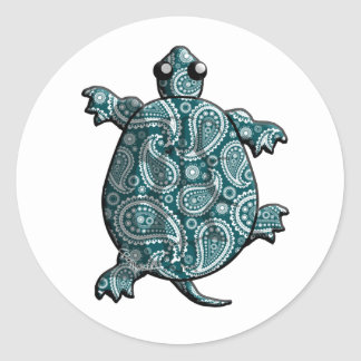 Blue Paisley Turtles Round Sticker