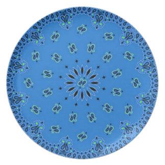 Blue Paisley Western Bandana Scarf Fabric Print Dinner Plate