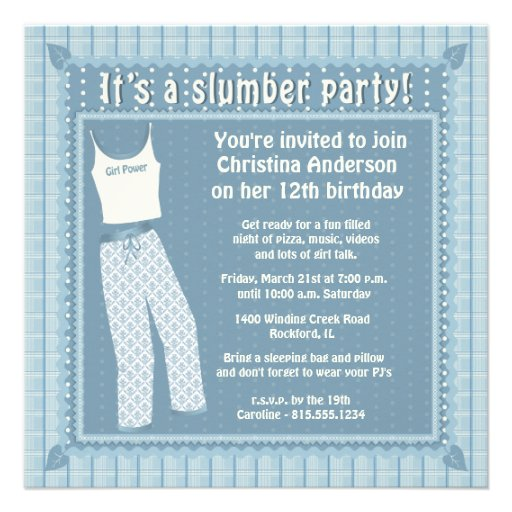 Blue pajamas slumber party invitation from zazzle com