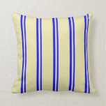 [ Thumbnail: Blue & Pale Goldenrod Colored Pattern Throw Pillow ]