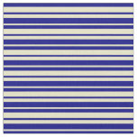[ Thumbnail: Blue & Pale Goldenrod Colored Striped Pattern Fabric ]
