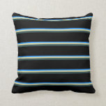 [ Thumbnail: Blue, Pale Goldenrod, Dark Slate Gray, and Black Throw Pillow ]