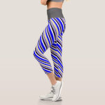 [ Thumbnail: Blue, Pale Goldenrod, Purple, Black & White Lines Leggings ]