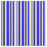 [ Thumbnail: Blue, Pale Goldenrod, Purple, Black & White Lines Fabric ]