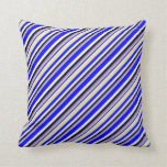 [ Thumbnail: Blue, Pale Goldenrod, Purple, Black & White Lines Throw Pillow ]