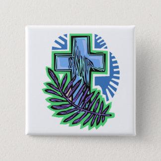 Blue Palm Cross Button