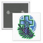 Blue Palm Cross Pin
