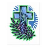 Blue Palm Cross Post Cards