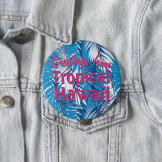 Blue palm leaves pinback button
