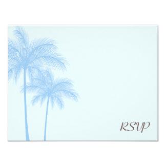 "Blue Palm Tree RSVP Wedding Response Card 4.25"" X 5.5"" Invitation Card"