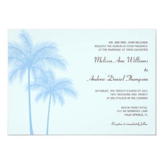 Blue Palm Tree Tropical Wedding Invitations