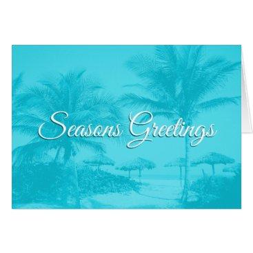 Aqua Blue Palm Trees Custom Text Christmas Card