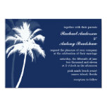 Blue Palm Trees Destination Wedding 5x7 Paper Invitation Card