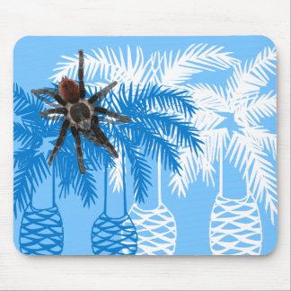 blue palm trees with tarantula mouse pad