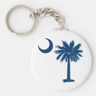 Blue Palmetto Basic Round Button Keychain