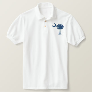 Blue Palmetto Embroidered Shirt