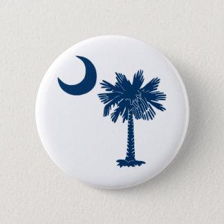Blue Palmetto on White Button
