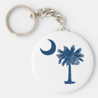 Blue Palmetto on White Keychain