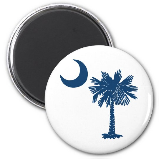 Blue Palmetto on White Magnet