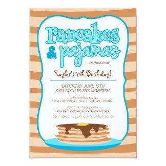 Blue Pancakes and Pajamas Birthday Party 5x7 Paper Invitation Card