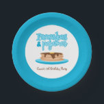 "Blue Pancakes and Pajamas Birthday Party Paper Plate<br><div class=""desc"">Your party guests will flip over this adorable Pancakes and Pajamas Party design! Celebrate your pancake loving birthday boy or girl with a breakfast in PJs themed morning party or a pajama slumber party. This delicious design features a stack of hotcakes covered in syrup and topped with butter sitting atop...</div>"