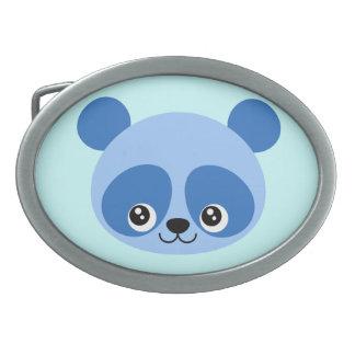 Blue Panda Oval Belt Buckle