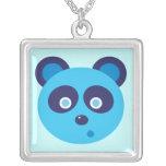 Blue Panda Square Pendant Necklace