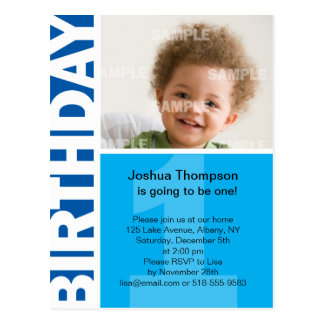 Blue Panel 1st Birthday Invitation Post Card