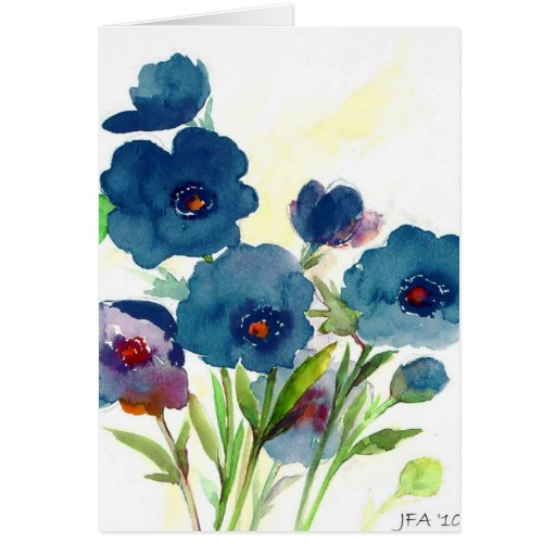 Blue pansies card