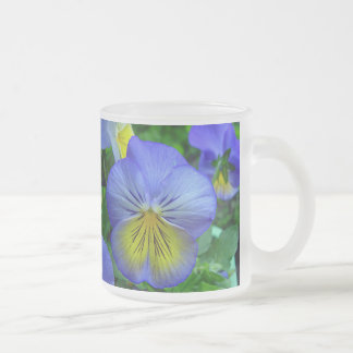 Blue Pansy 10 Oz Frosted Glass Coffee Mug