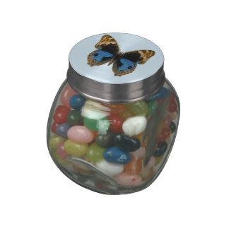 Blue Pansy Butterfly Glass Jars