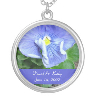 Blue Pansy Flower Necklace