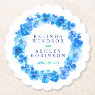 Blue pansy flower wreath watercolor art coasters