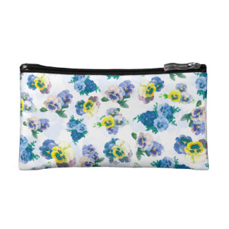 Blue Pansy Flowers floral pattern Cosmetic Bag