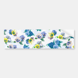 Blue Pansy Flowers floral pattern Bumper Sticker