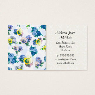 Blue Pansy Flowers floral pattern Business Card