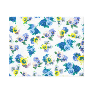 Blue Pansy Flowers floral pattern Canvas Print