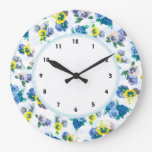 Blue Pansy Flowers floral pattern Clocks