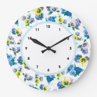 Blue Pansy Flowers floral pattern Large Clock