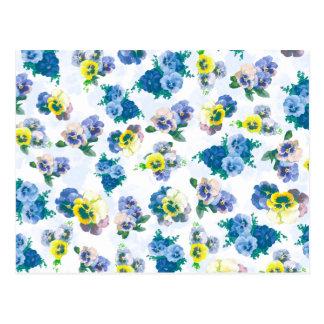 Blue Pansy Flowers floral pattern Postcard