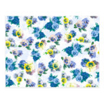 Blue Pansy Flowers floral pattern Postcards