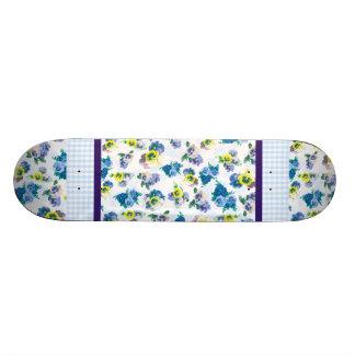 Blue Pansy Flowers floral pattern Skateboard Decks