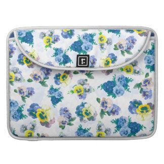 Blue Pansy Flowers floral pattern Sleeve For MacBook Pro