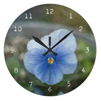 Blue Pansy Large Clock